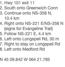 1. Hwy 101 exit 11 2. South onto Greenwich Conn 3. Continue onto NS-358 N, 10.4 km 4. Right onto NS-221 E/NS-358 N (signs for Evangeline Trail) 5. Follow NS-221 E, 4.4 km 6. Left onto Longspell Rd, 30 m 7. Right to stay on Longspell Rd 8. Left onto Medford Rd N 45 09.842 W 064 21.785