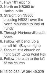 1. Hwy 101 exit 15 2. North on NS360 to Harbourville 3. Straight on NS360 crossing NS221 over the North Mountain to Bay of Fundy 5. Through Harbourville past boats 6. Follow left bend, up a small hill (Bay on right) 7. Stop at little church on right (3201 Long Point Rd) 8. Follow the path to the left of the church N 45 09.032 W 064 49.025